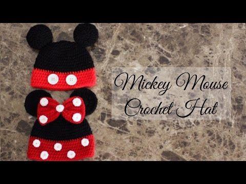Como hacer un gorro fácil de Mickey Mouse a ganchillo, gancho, y crochet…