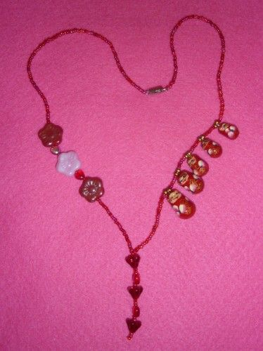 Hearts, Flowers and Russian Dolls for You Red and Pink Necklace
