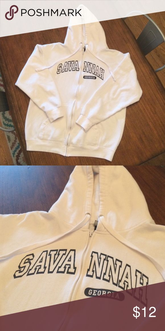 Zip up Hoodie White zip up Savannah GA hoodie in excellent condition, no stains or wear Jackets & Coats