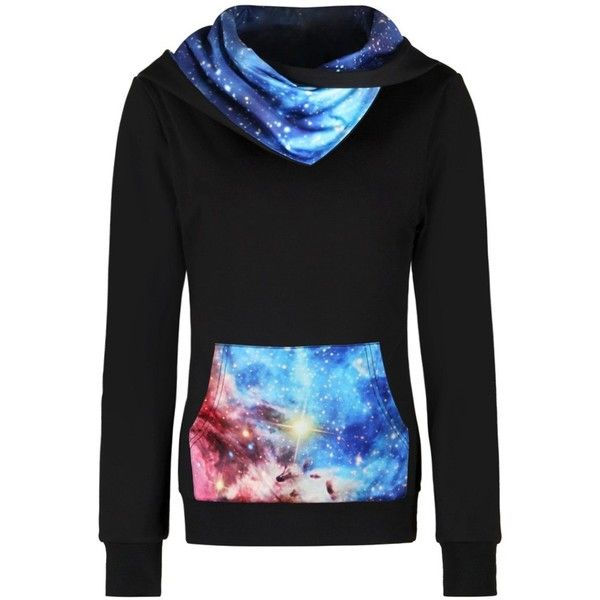 3D Galaxy Printed Kangaroo Pocket Hoodie ($22) ❤ liked on Polyvore featuring tops, hoodies, hooded pullover, galaxy hoodie, nebula hoodie, galaxy print hoodie and galaxy print top
