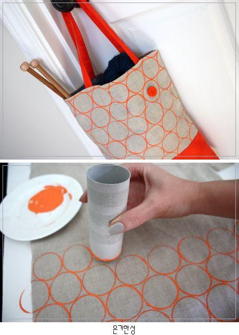 DIY: Fabric Stamping / 휴지롤을 이용한 원 패턴 만들기