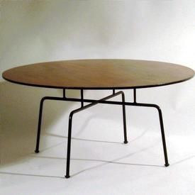 Robin Day; Cherry and Enameled Metal Coffee Table by Hille & Co. for Festival of Britain, 1950.