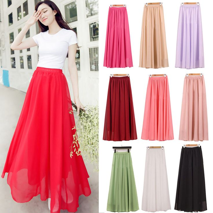Ladies Chiffon  Candy Color Pleated Maxi Skirts - M  L XL 17Colors //Price: $25.26 & FREE Shipping //     #hashtag3