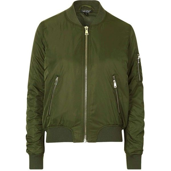 TopShop ma1 Bomber Jacket ($51) ❤ liked on Polyvore featuring outerwear, jackets, tops, coats & jackets, green jacket, bomber style jacket, bomber jacket, flight jacket and green utility jacket