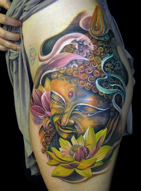 Colorful buddha and lotus tattoo by tony mancia