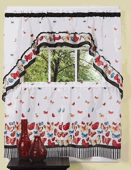 Mariposa Curtains Features Playful Butterflies Adorn This Delightful Tier U0026  Swag Set On White Ground Accented