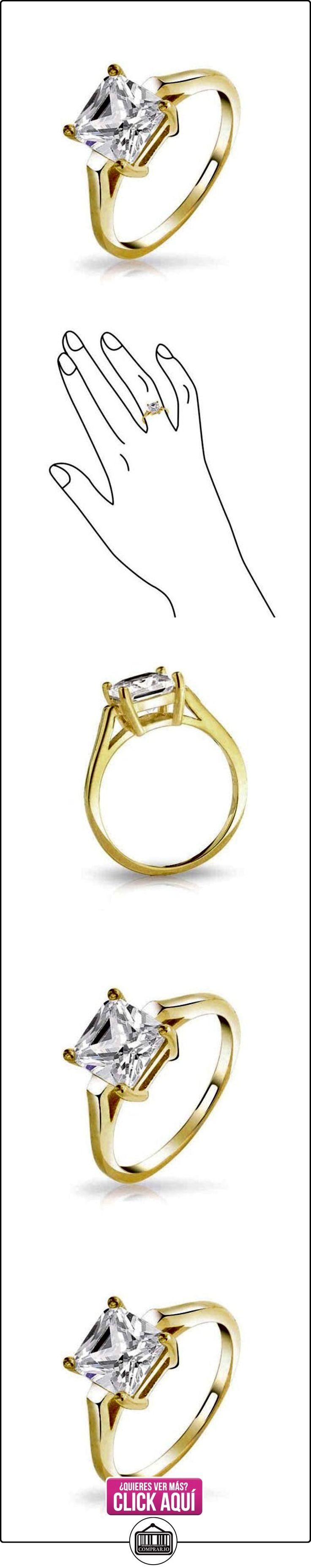 Bling Jewelry Plata de Ley Chapado en Oro Corte Princesa Solitario CZ Anillo de Compromiso 2 Quilates  ✿ Joyas para mujer - Las mejores ofertas ✿ ▬► Ver oferta: https://comprar.io/goto/B00EZ7B7W4