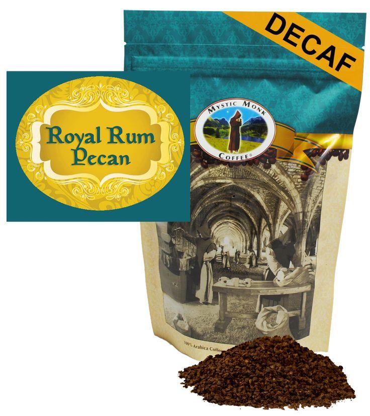 Mystic Monk Coffee Royal Rum Pecan Decaf Flavored