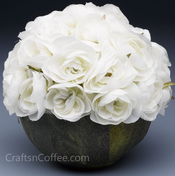 """How to make a white rose centerpiece. """"Bowl"""" is a foam ball, decoupaged with papers. #DIYWeddingCrafts"""
