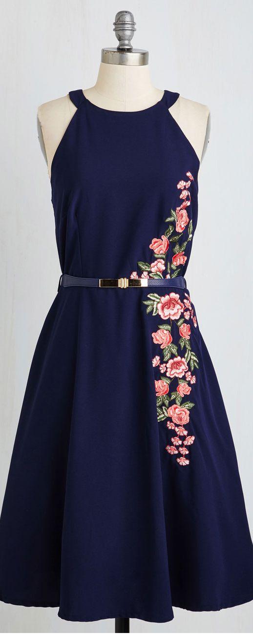 floral detail midi dress