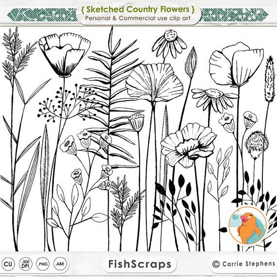 Long Stem Flower Line Art, Sketched Country Flower Digital Stamps, Summer Floral ClipArt, Decorative Design, Invitations, Cards