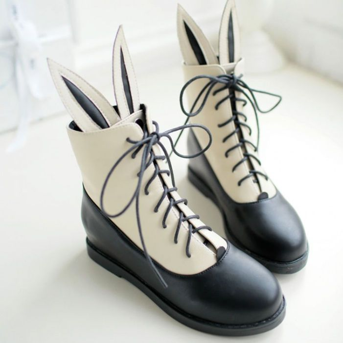 Sweet cute ears lace-up boots shoes HOLIDAY GIFT CENTER - BEST GIFT OF THE YEAR Cute Kawaii Harajuku Fashion Clothing
