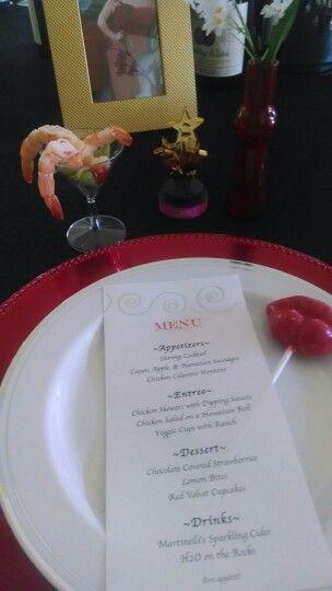 Red Carpet Party Menu & Place Setting