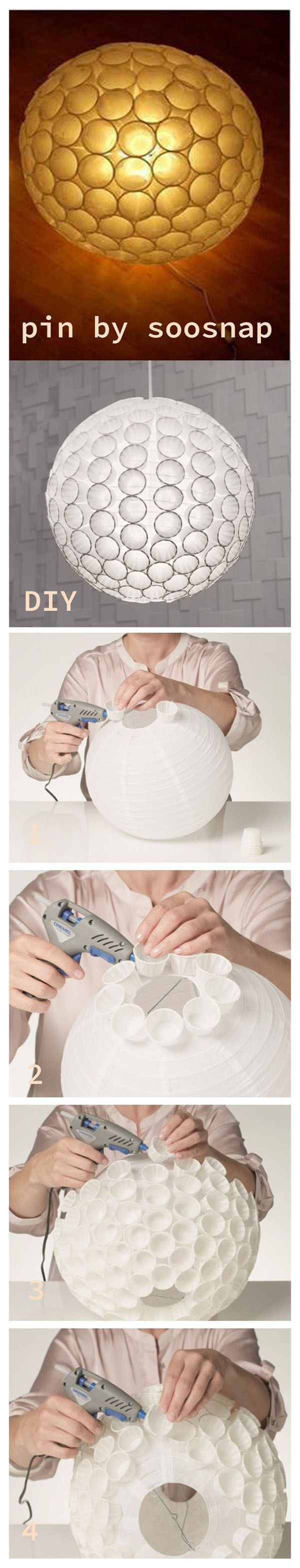 A cool unusual lamp , made of usual paper cups!you need a hot glue gun to help you. you can also make it more colorful, just give the cups some bright colors.