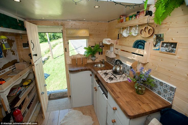 The couple spent £6,500 transforming the inside of the van into a home, which comes complete with a kitchen, where the couple can cook their meals