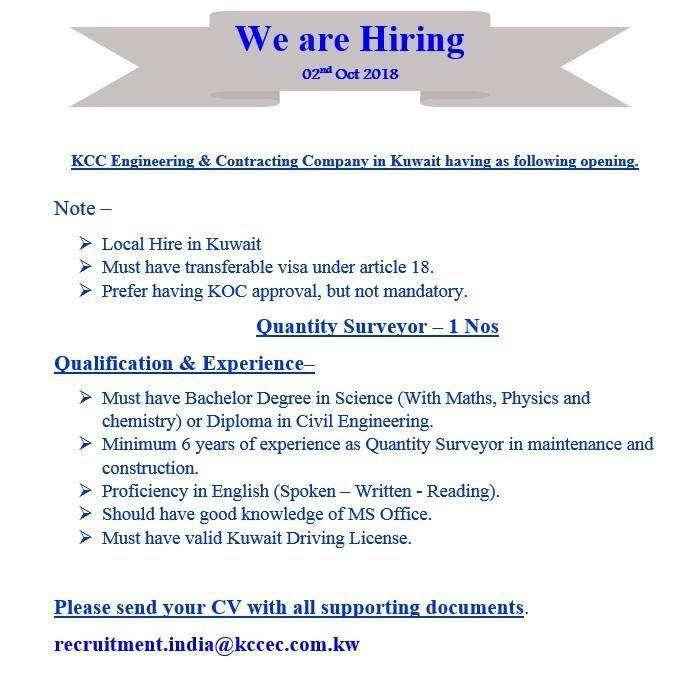 Quantity Surveyor Kuwait Job Openings Job Opening Job Science