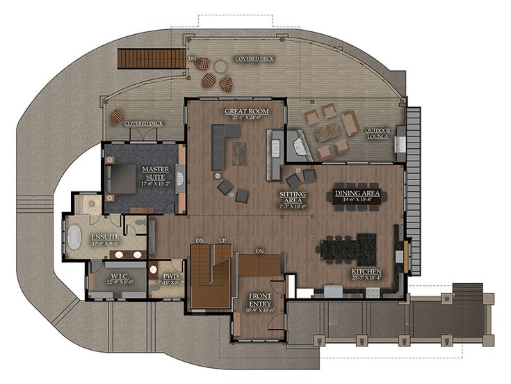 The Whytecliff Timber Home from Canadian Timberframes is a 4833 sq ft home with a garage, three bedrooms, laundry room, and family room.