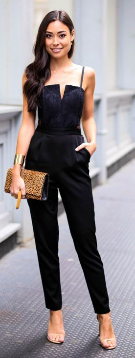 Black Street Chic Strappy Jumpsuit #With Love From Kat