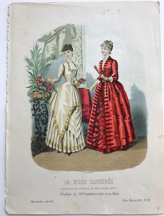 antique French fashion Antique French Prints hand colored prints 1800/'s Fashion Prints