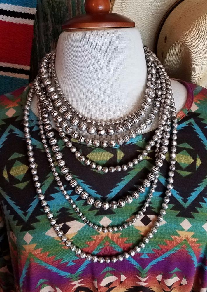 Cowgirl Bling 7 strand NECKLACE Antiqued Silver tone Gypsy Boho Beads Southwest  #other