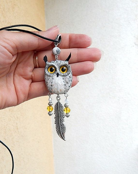 Owl pendant I made of polymer clay and Tibetan silver color jewelry findings, beads and Czech crystal beads, waxed cord. The size of the owl is about 3,5 cm ,length of pend... #polymerclay #animaltotem #jewelryanimals