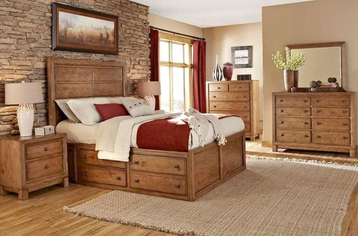 Мебель: Деревянная мебель Сельского Спальня с кирпичной стеной Спальни