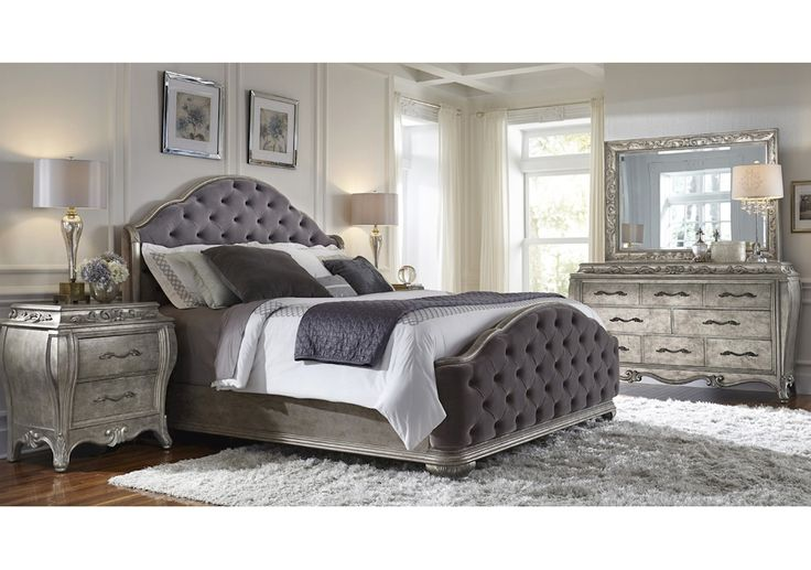 Elegant And Sumptuous Rhianna Bedroom Set By Pulaski Furniture Envelopes You In Total Luxury The Aged Silver Patina Finish Enhances Sinuously Curved