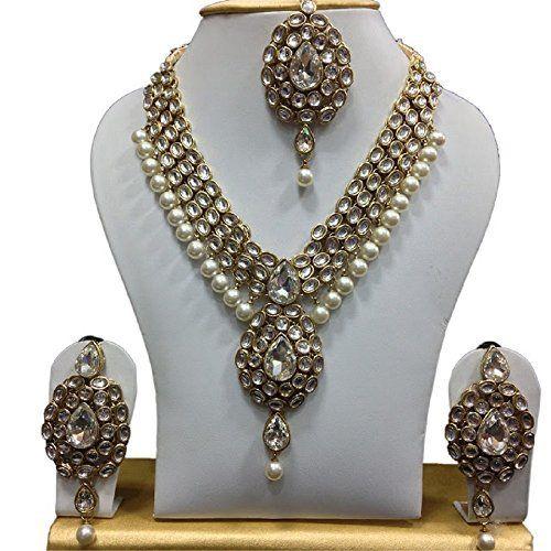 Indian Bollywood Gold Plated White Pearls Traditional Kundan Deepika Padukone Jewellery Set VVS Jewellers, http://www.amazon.com/dp/B01J36AZVU/ref=cm_sw_r_pi_dp_x_E7gGzbYRSXKRK