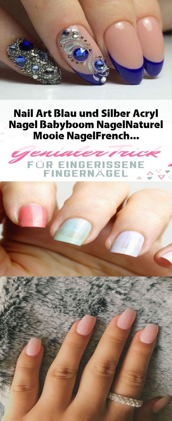 Nail Art Blau und Silber #Acryl #Nagel #Babyboom #NagelNaturel #Mooie