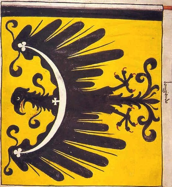 "f°4v, Chorągiew księcia oleśnickiego Konrada VII Białego // Banner of Conrad the White, prince of Olesno (Rosenberg) from Silesia. He commanded the banner [here a military unit] personally and it was composed of his own people-knights from the Principality of Wroclaw (Breslau) and from Silesia -- ""Banderia Prutenorum"", by Jan Dlugosz, 1410"