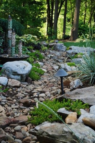 This is nice and a good reminder to include lighting around your stream bed. Contemporary landscape by Jay Sifford Garden Design ~ebm