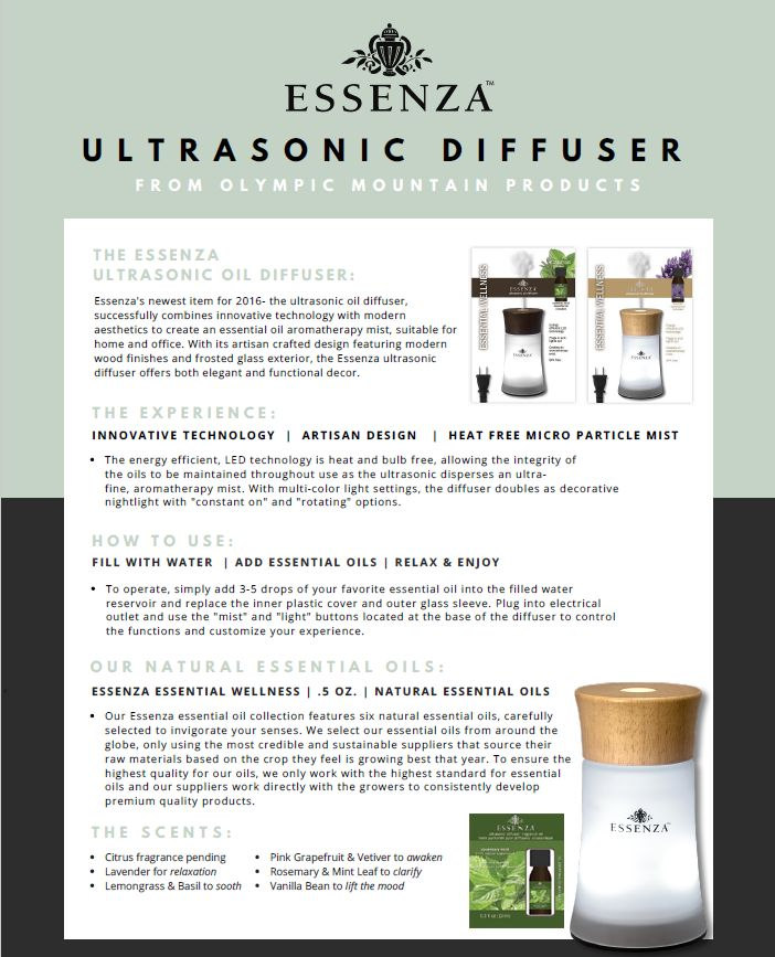 Essenza Ultrasonic Aromatherapy Natural Essential Oil Ultrasonic Diffuser