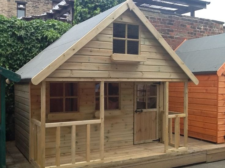 Children's solid timber pressure treated tongued and grooved two story playhouse. Manufactured at our own factory show site in Bradford West Yorkshire. This playhouse is fully tongued and grooved throughout with no chipboard, osb or inferior solid board material used. | eBay!