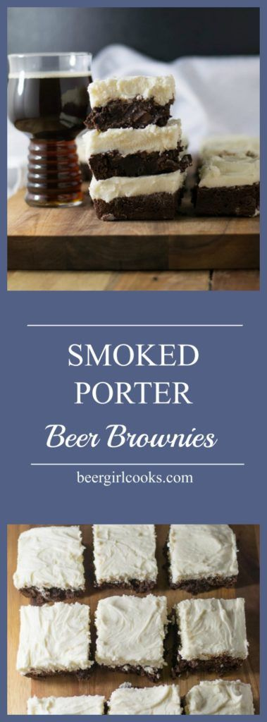 Smoked Porter Beer Brownies are so fudgy and delicious! They're super easy to make and have a hint of smokey flavor from a smoked porter beer. You can't go wrong by finishing with a topping of a decadent amount of cream cheese frosting. via @beergirlcooks1