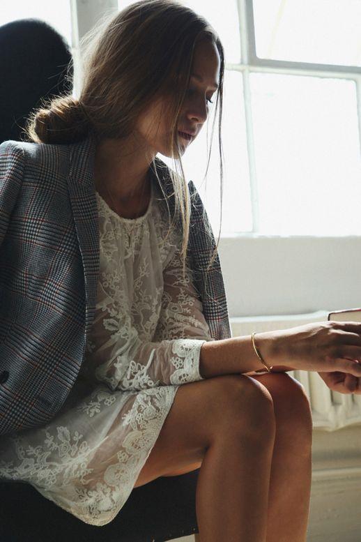 lace dress + plaid blazer
