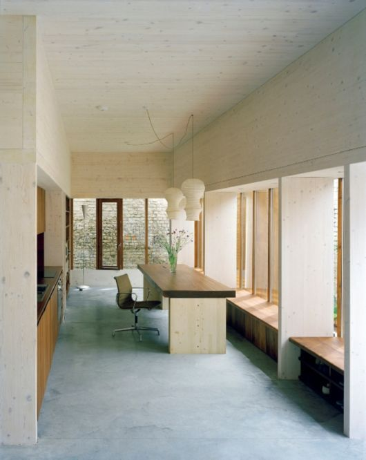 nice extension and nice materials (birch + concrete + hardwood)    [Strange House, interior]