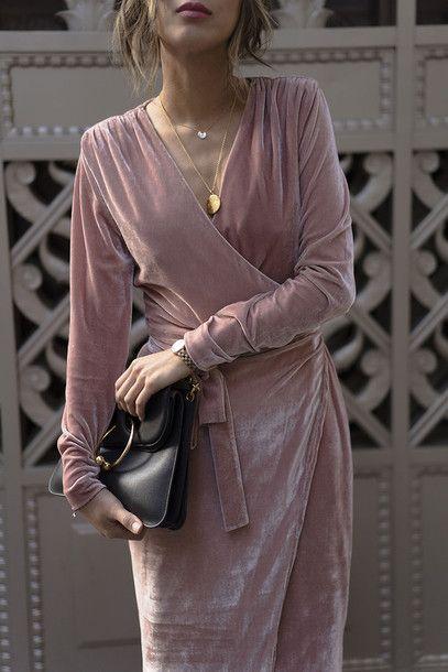 Dress: tumblr pink light pink pink wrap v neck v neck necklace gold necklace jewels jewelry gold @sommerswim