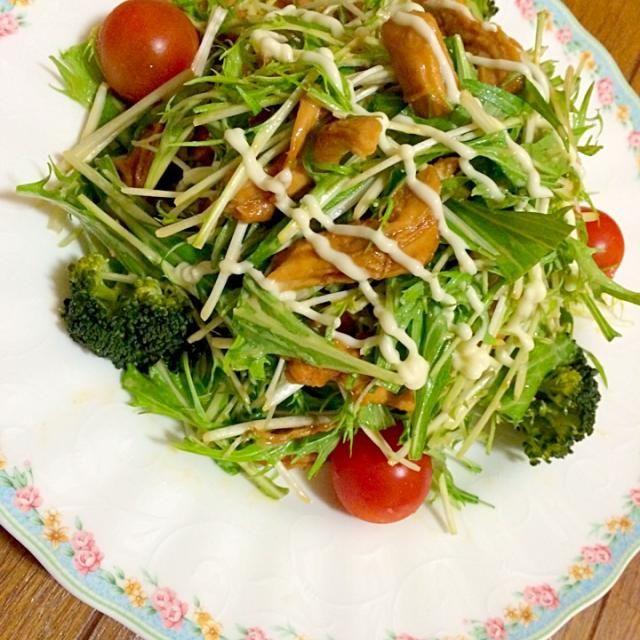 桜里ちゃんの 照り焼きチキンと水菜のサラダ! アドバイス通りに濃いめの味付けの 照り焼きチキンで作ってみました 私も息子も水菜大好きだから モリモリ食べちゃった!- 美味しかった〜٩̋(๑˃́ꇴ˂̀๑)۶  桜里ちゃん 簡単美味しい素敵レシピ ありがと〜♥️⁺✧.(˃̶ ॣᵕ ॣ˂̶∗̀)ɞ⁾⁾ - 115件のもぐもぐ - 桜里さんの料理 照り焼きチキンと水菜のサラダ by masamiho