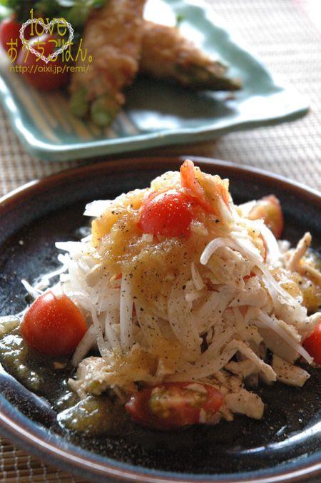 フルーツ玉ねぎと蒸し鶏のサラダ。 | 美肌レシピ