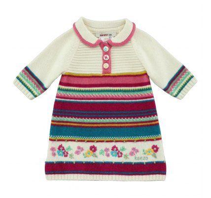 KENZO  Robe en maille jacquard  75.00 € #clothes #girl #kids #girl #dress #robe #fille