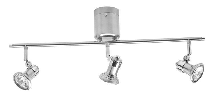 Vogue DIY 3 Light Bar GU10 Including Globes in Brushed Steel