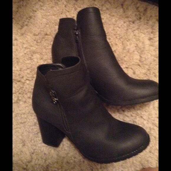 Ankle booties Dark charcoal ankle bootie.  Zipper on inside of boot.  Faux zipper on outside.  Very comfy and cute with many outfits.  Often your accessories and shoes can make or break the outfit ladies! Parker & Sky Shoes Ankle Boots & Booties