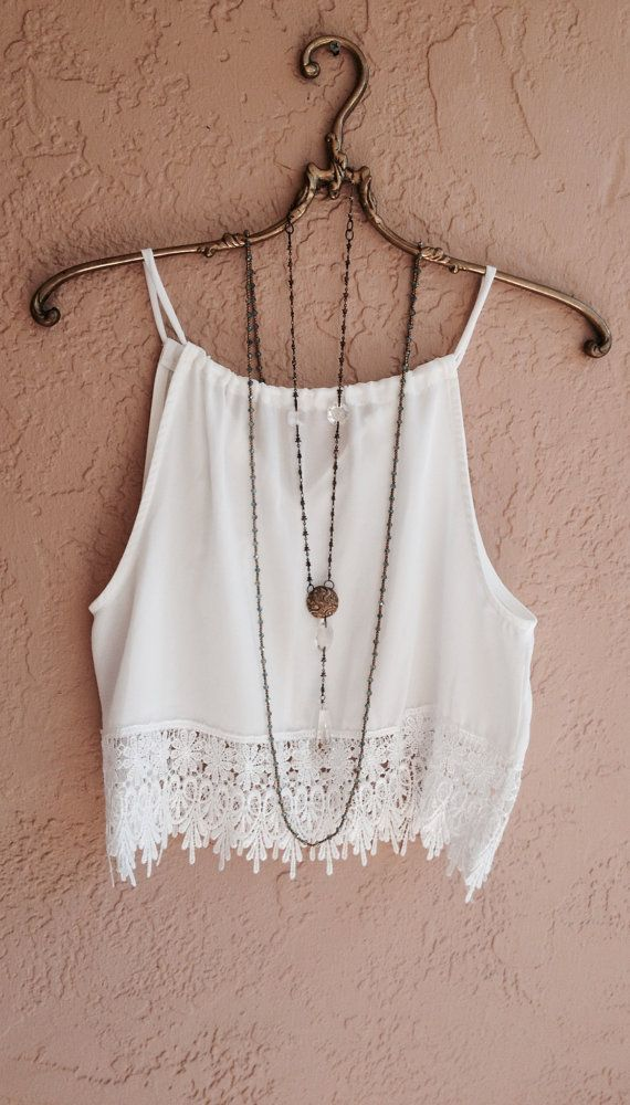Beach Bohemian crop lace top with fringe trim in by BohoAngels, $45.00