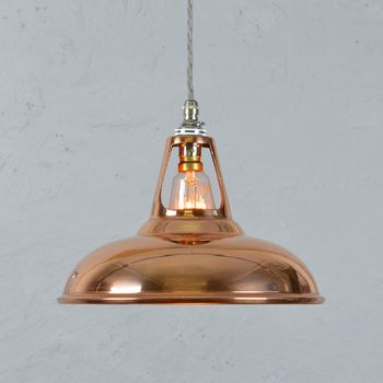 £85 incl cord and fixing. by Artifact lighting on not on the high street. Copper Industrial Pendant Lamp