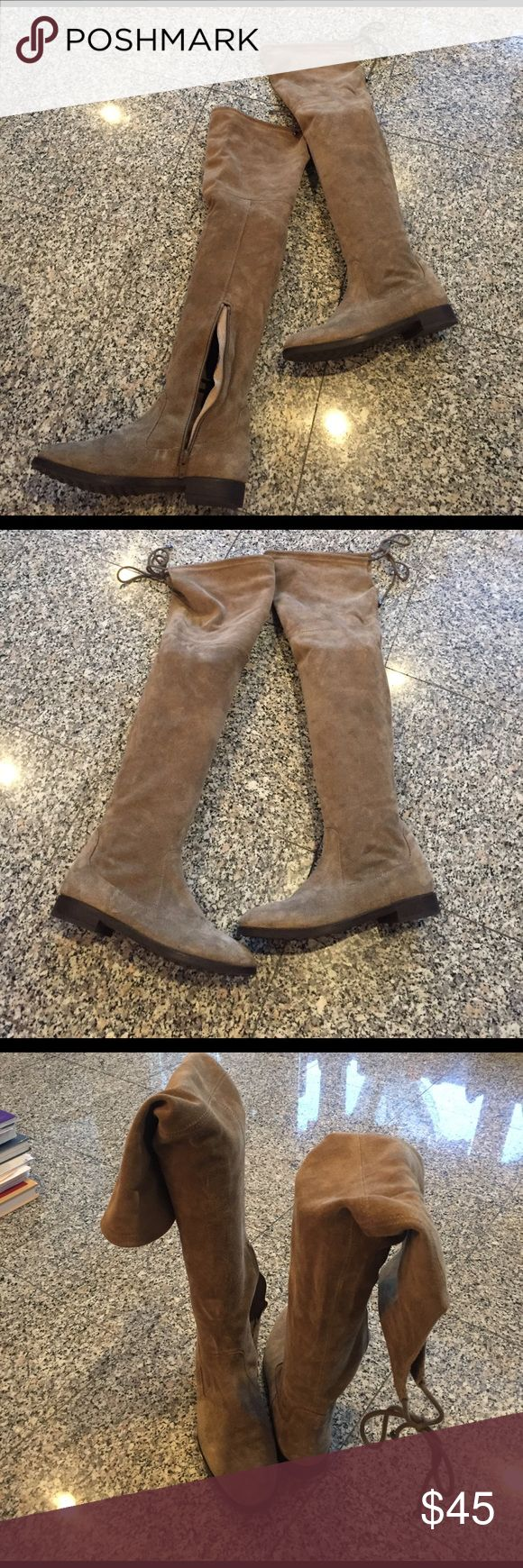 Gray suede Aldo boots‼️Worn Once‼️ Over the knee gray suede boots. Tie in the back but also has a zipper in the inner ankle. Runs a bit narrow. ‼️Only worn once.‼️ Hopefully this item can find a new fabulous home !Love it but to pricy? Would love for you to make an offer. Xx Aldo Shoes Over the Knee Boots