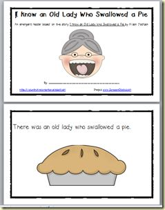 Can Do Kinders: Old Lady who Swallowed a Pie activities