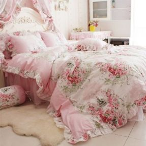 DIAIDI Home Textile,Romantic Rose Print Bedding Sets,Blue Pink Bedding Sets,Princess Lace Ruffle Bedding Set,Twin/Full/Queen/King Bedroom Set,4Pcs Bed Set (Pink, 4ft bed)