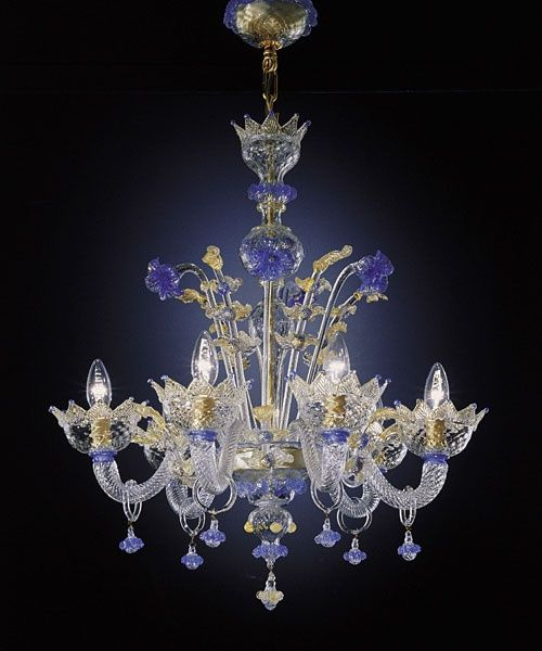 chandelier, blue glass, crystal
