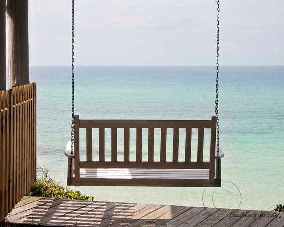Beach Porch Swing Photography Ocean Landscape by findingfocus, $28.00