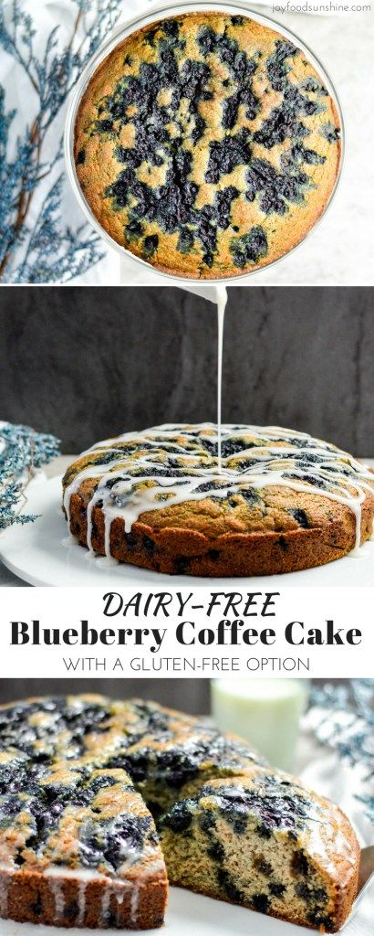 This lightened-up Blueberry Coffee Cake Recipe is the perfect healthy breakfast for a special occasion! It is dairy-free & gluten-free and feeds a crowd! You can serve it as dessert too!